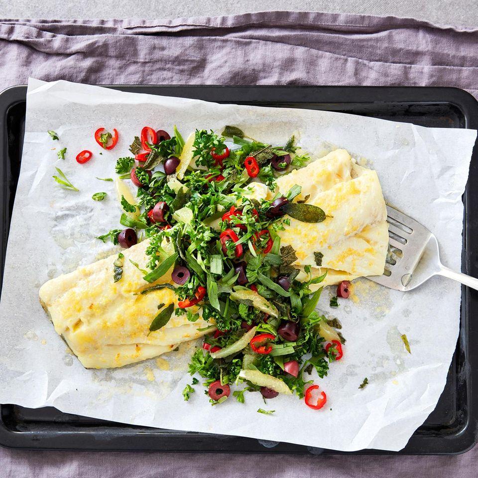 Kabeljau mit Salat-Topping