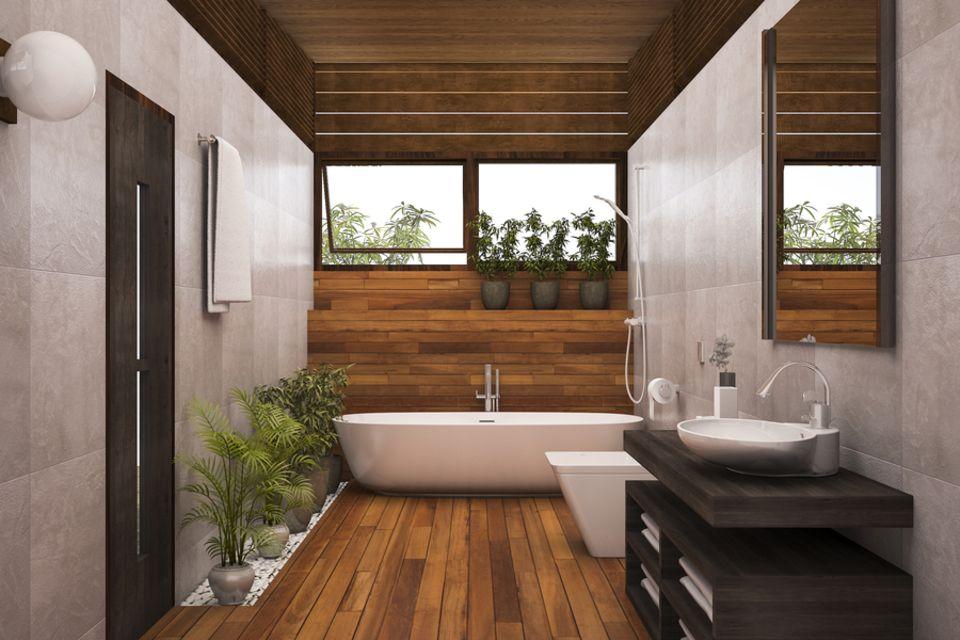 Deckengestaltung: Badezimmer mit Holzdecke