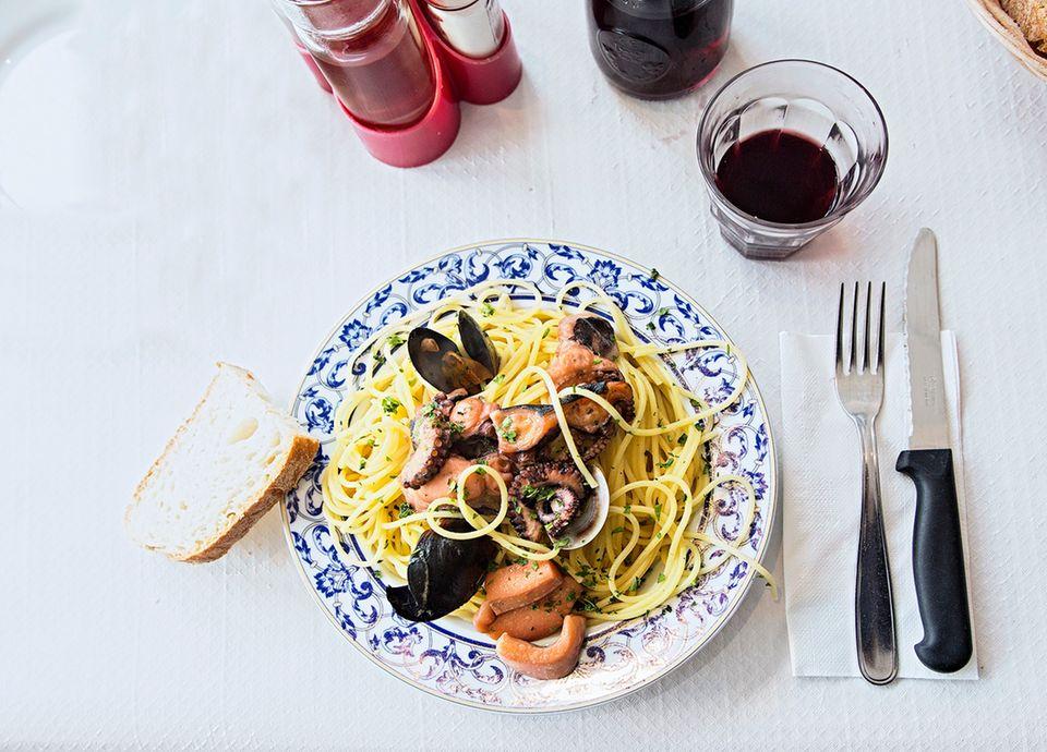 Von Venedig bis Florenz: Spagetti mit Meeresfrüchten