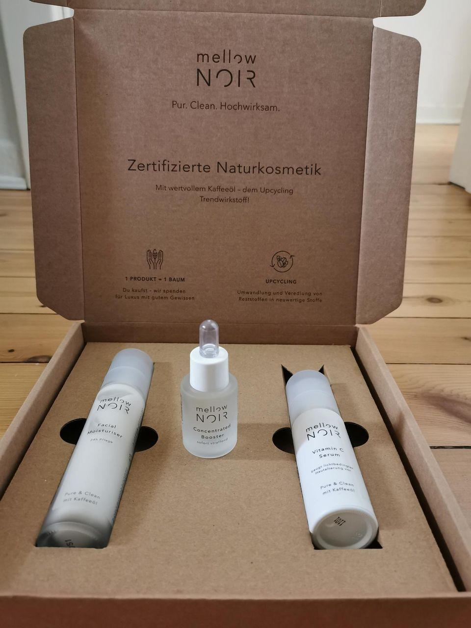 mellow NOIR: zertifzierte Naturkosmetik, Facial Moisturiser, Vitamin C Serum, Concentrated Booster, nachhaltige Verpackung