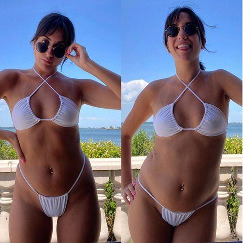 Aufgeblähter Bauch: Clara Guillem im Bikini vor und nach dem Essen