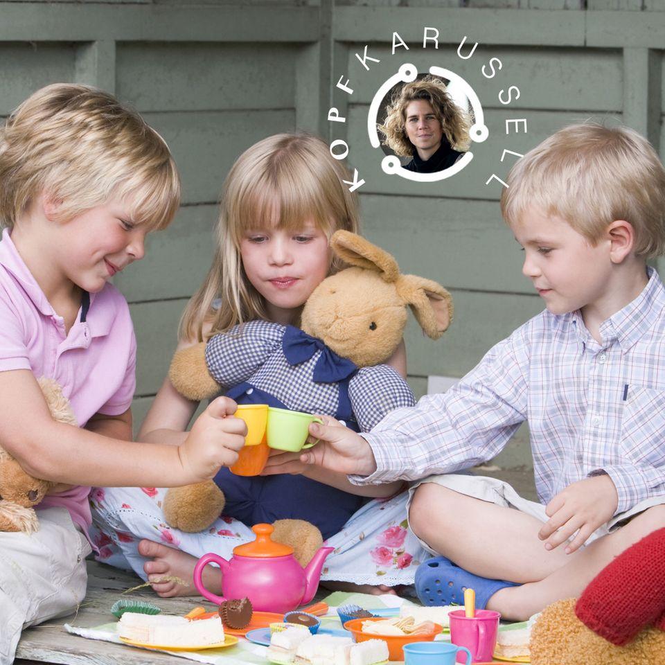 Psychologie: Drei Kinder beim Teetrinken