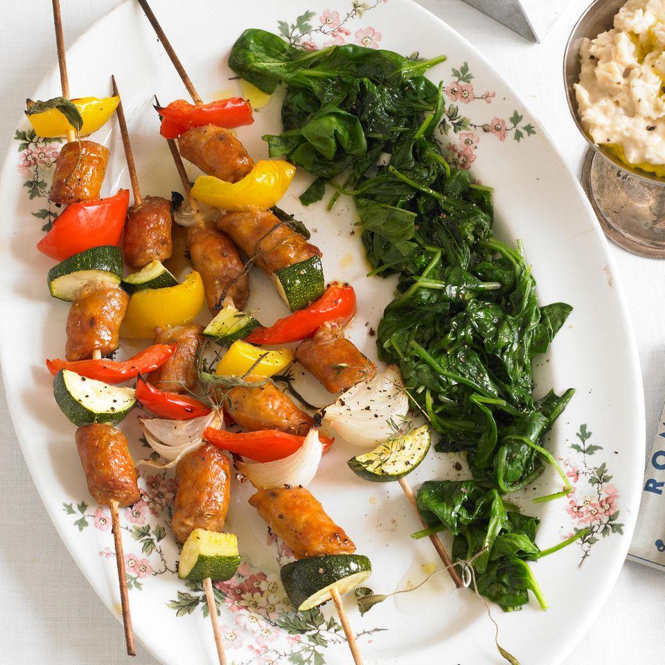 Salsiccia-Gemüse-Spießchen