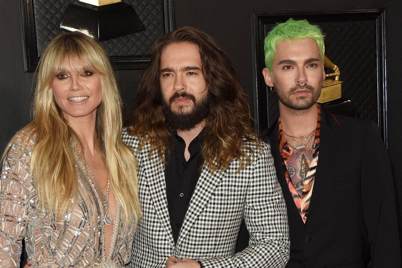 """GNTM Finale 2021: Heidi Klum lädt """"Tokio Hotel"""" ein: Fans sind genervt: Heidi Klum, Bill und Tom Kaulitz auf dem roten Teppich"""