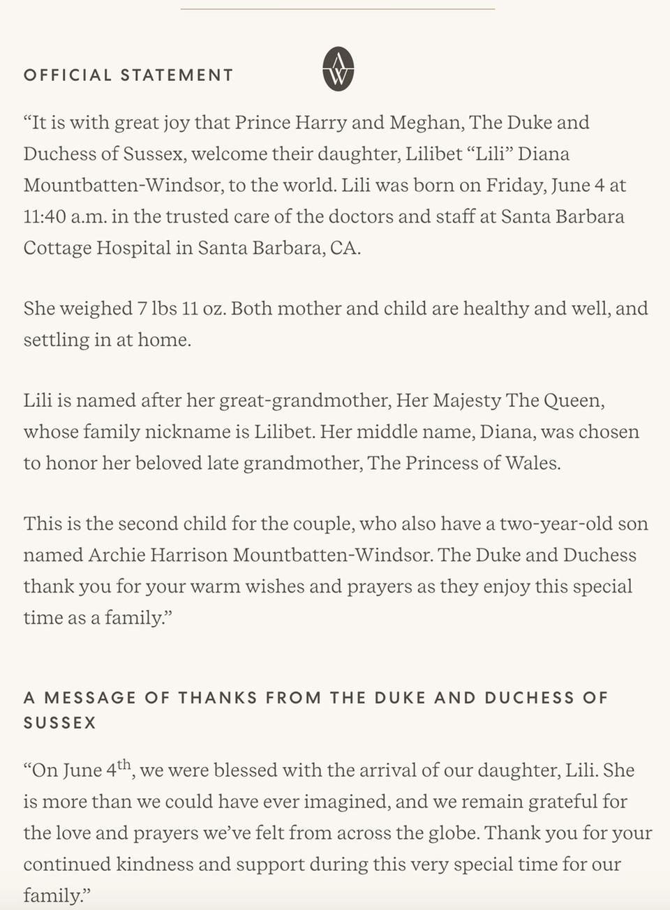 """Auf der offiziellen Website ihrer """"Archewell Foundation"""" lassen Prinz Harry und Herzogin Meghan die Geburt ihrer Tochter verkünden und richten Worte des Dankes ans Volk."""