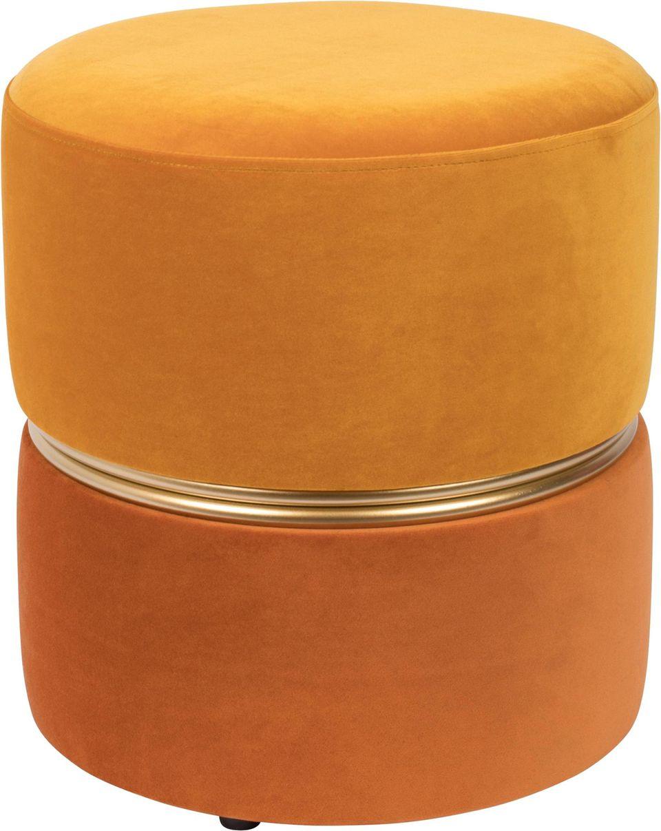 Flur einrichten: Samthocker in orange.