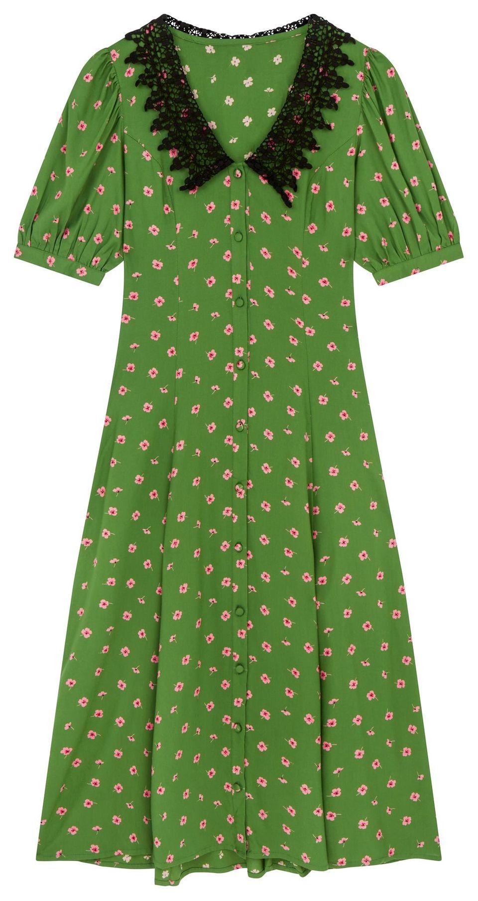 40er Jahre Mode: Kleid mit abgesetzten Häkelkragen