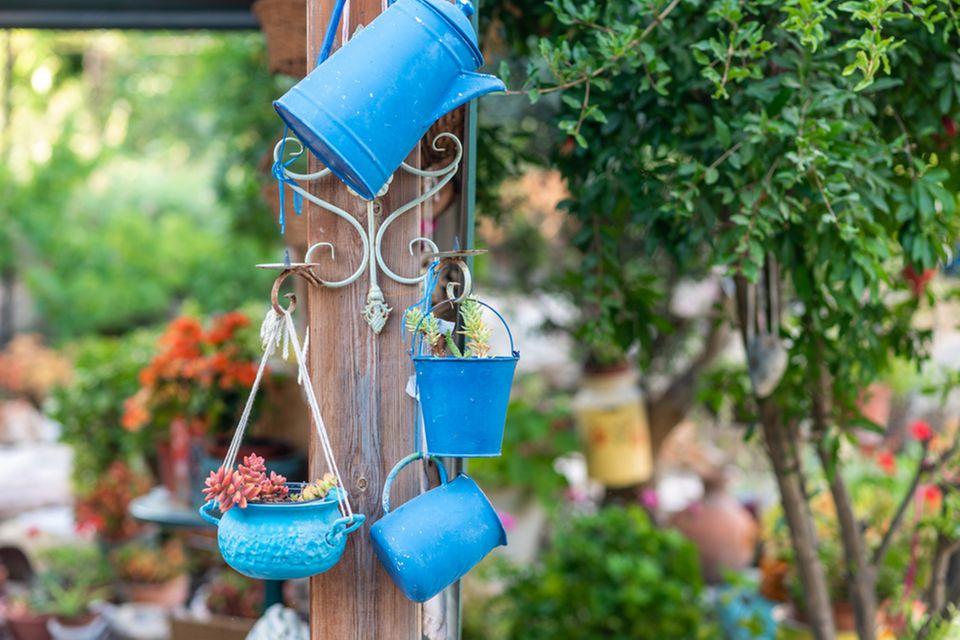 Blumentöpfe bemalen: Blumengefäße in blau hängen im Garten