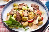 Bärlauch-Gnocchi mit Steakstreifen