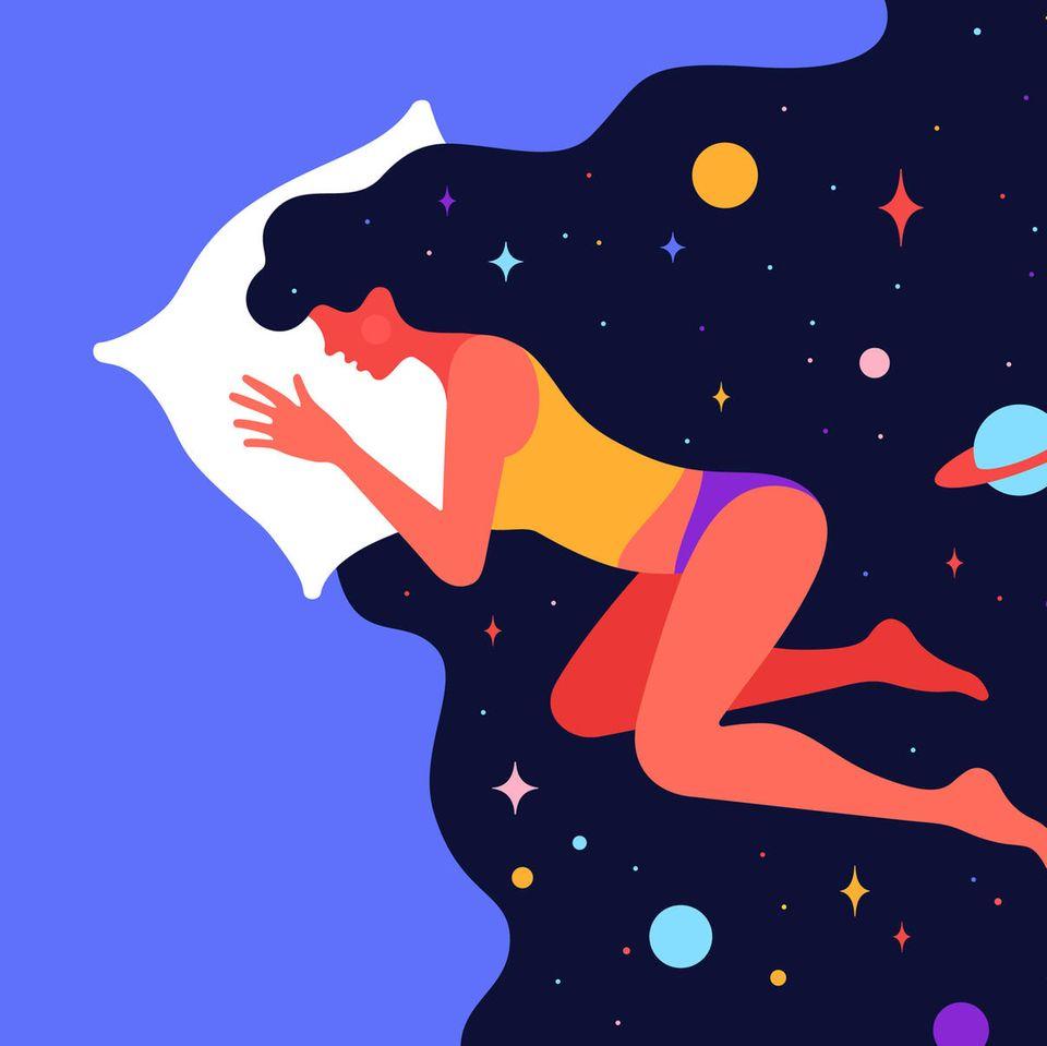 Horoskop: Bettwäsche, Illustration von Frau