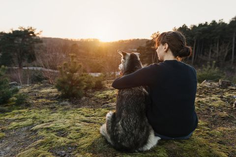 Psychologie: Eine Frau sitzt mit ihrem süßen Hund im Wald