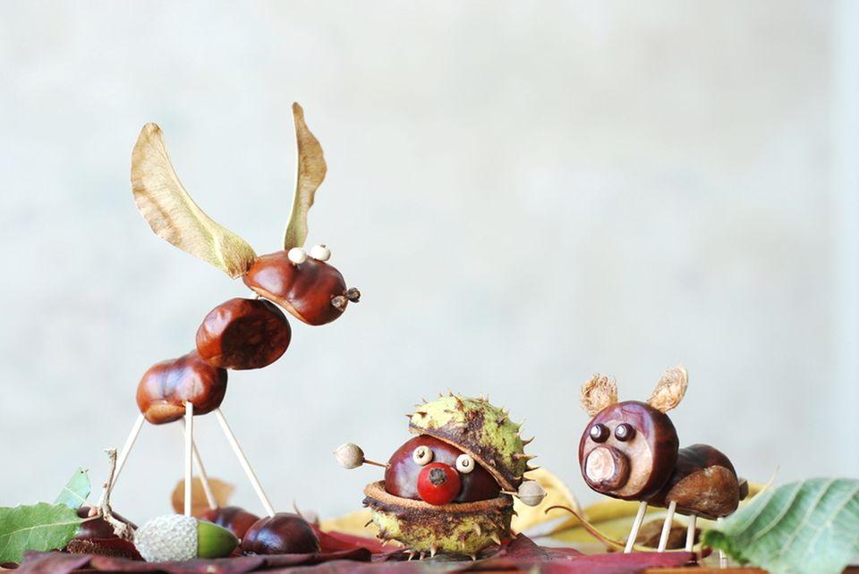 Basteln mit Naturmaterialien: Kastanienfiguren