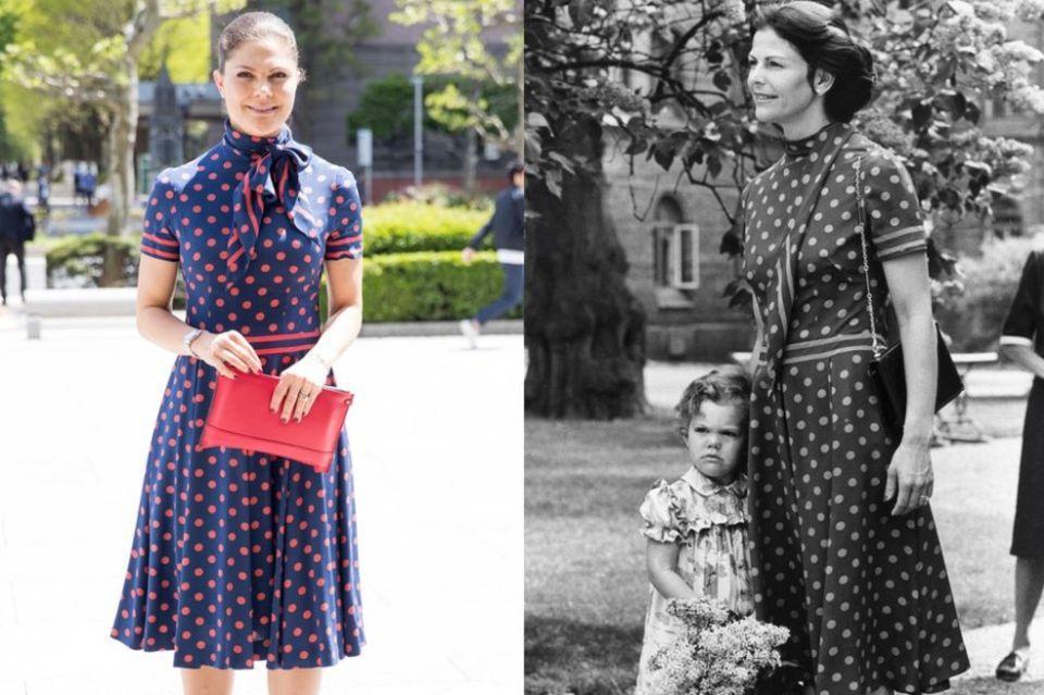 Anlässlich des dritten Geburtstags vonPrinzessin VictoriawählteKönigin Silviaein gepunktetes Kleid. Das besondere Dress trug Victoria vermutlich nur allzu gerne auf.