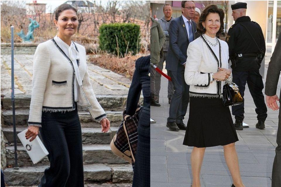 Gleiches Teil, unterschiedliche Kombinationen. Obwohl sichPrinzessin Victoriadie Jacke ihrer Mutter ausborgte, kombiniert sie diese völlig anders und erschafft einen neuen Look.