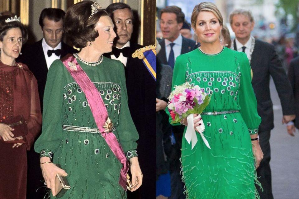 """Für ihren Besuch im""""Koninklijk Theater Carré"""" in Amsterdam bediente sichKönigin Máximaam Kleiderschrank von Schwiegermutter und wählte eine grüne Robe mit Franzen und Stickereien. Obwohl ein paar kleine Änderungen an Taille und Kragen vorgenommen wurden, steht der Partnerlook beiden ausgezeichnet."""