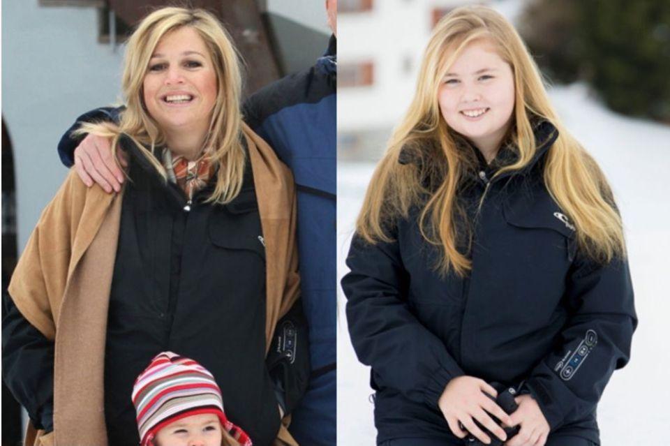 2007 trugKönigin Máximadie schwarze Jacke des Labels O'Neill, zehn Jahre später zeigt sich Tochter Amalia in dem gleichen Modell.