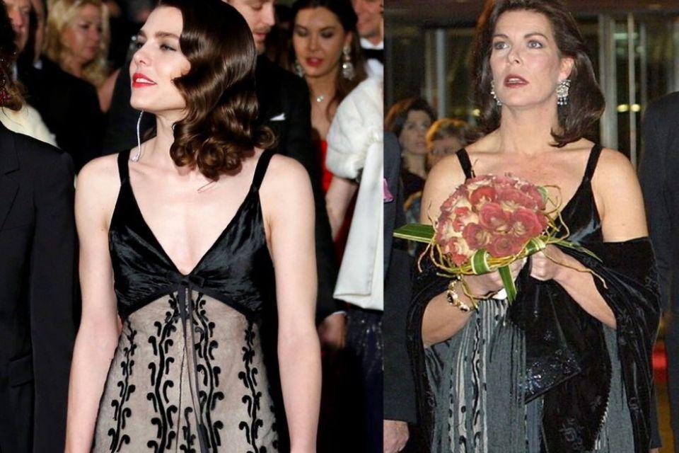 AuchCharlotte Casiraghitobte sich in Mamas Kleiderschrank aus und wählte für den roten Teppich ein gemustertes Abendkleid von Prinzessin Caroline.