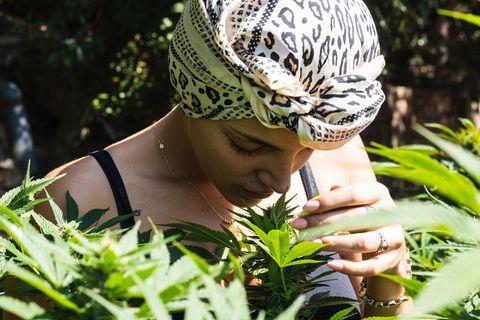 CBD-Test: Frau riecht an Pflanze