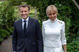 Die Macron erscheinen zum Cocktailempfang des G7-Gipfels