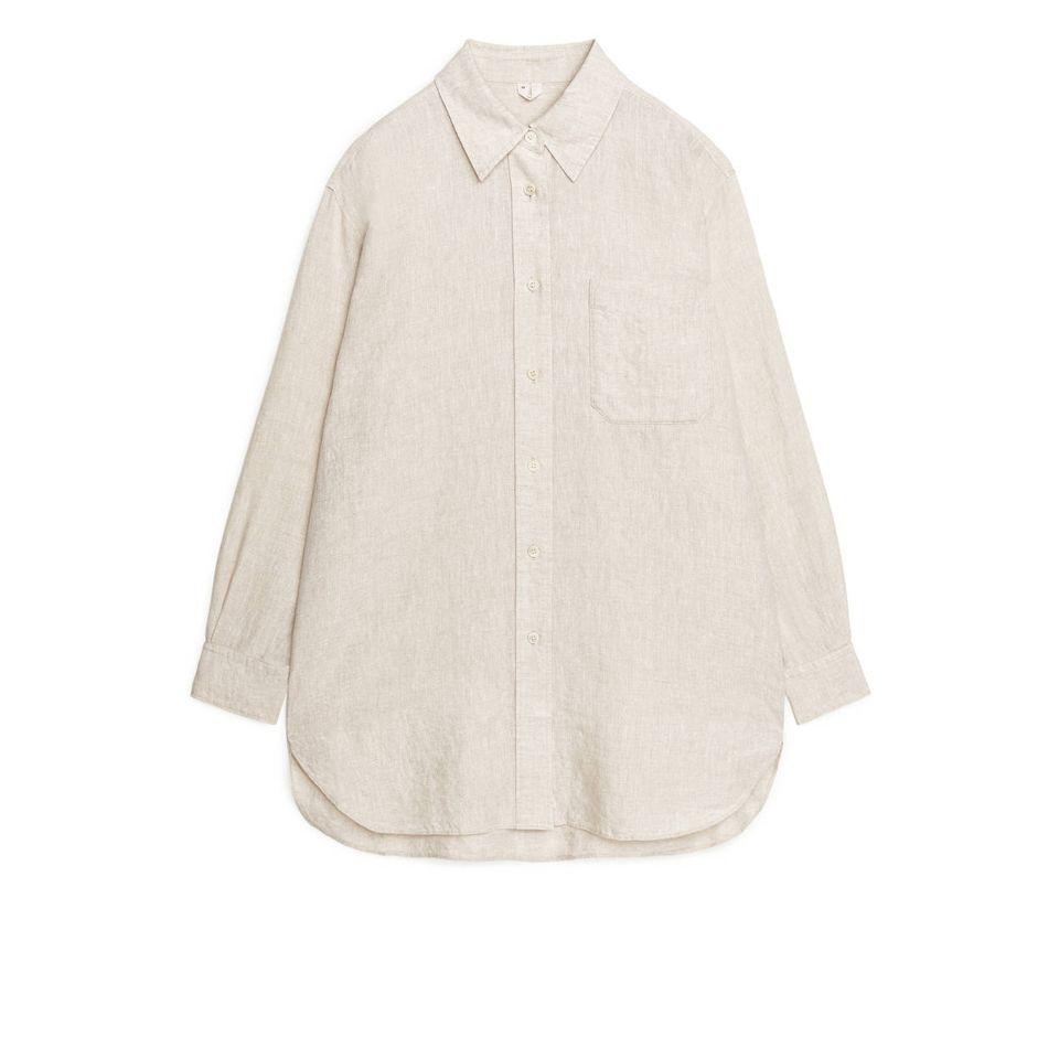 Updress your homewear: Hemdbluse aus Leinenmix