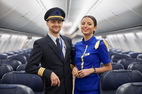 Begrüßung im Flugzeug