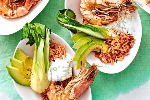 Avocado-Reis-Salat mit Garnelen