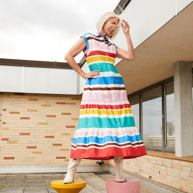 Colourblocking: Kleid mit Streifen