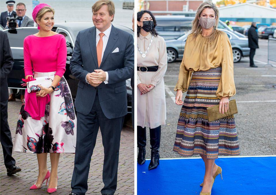 Königin Máximas Garderobe ist bekanntermaßen farbenfroh. Auffällige Glockenröcke dürfen da natürlich nicht fehlen.
