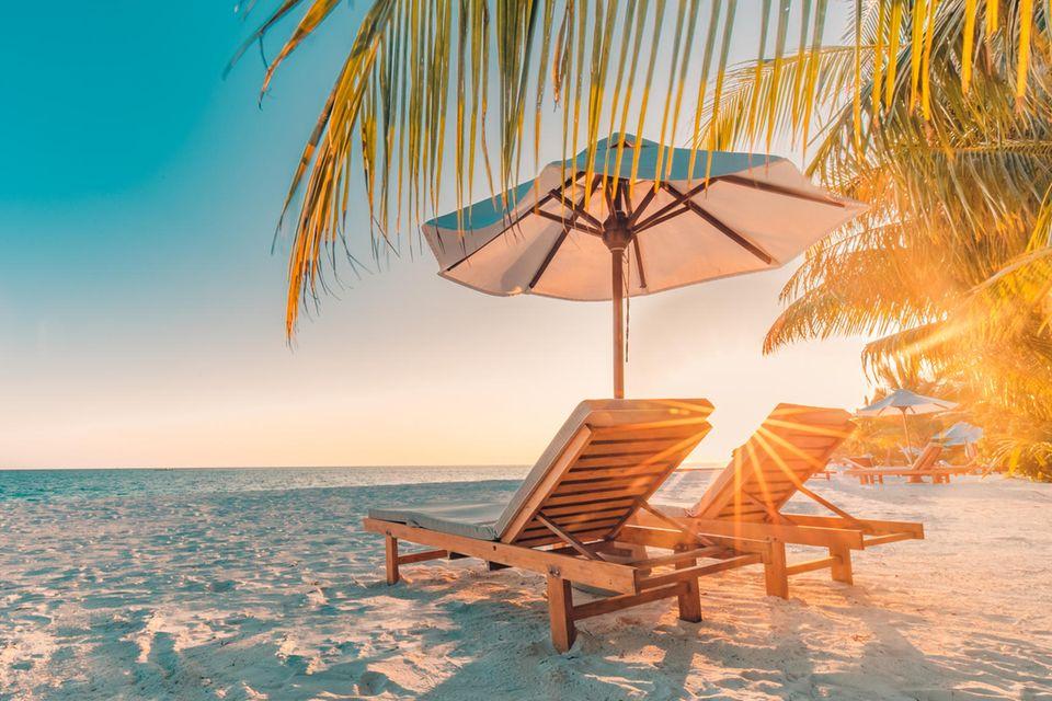 Herbsturlaub-Schnäppchen: Zwei Liegestühle an traumhaften Strand