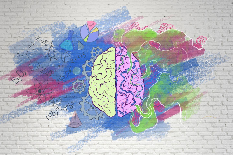 Welcher Teil deines Gehirns dominiert deine Wahrnehmung? Linke Hirnseite mit Formeln, rechte mit bunten Farben.