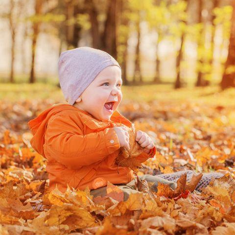 Ein Kind sitzt in einem Blätterhaufen und ist fröhlich.